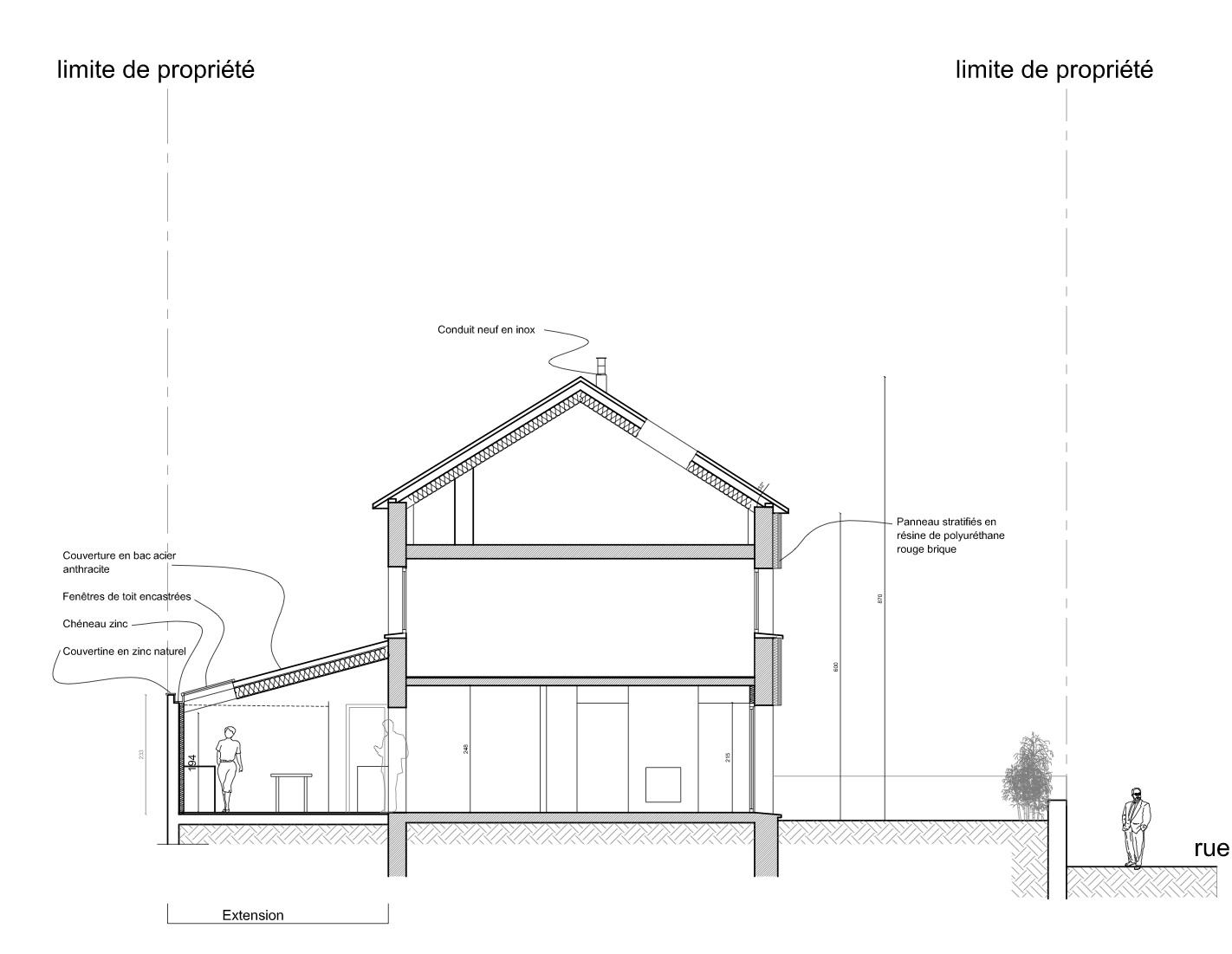 Coupe jean hugues berville architecte rouen for Architecte 3d plan de coupe